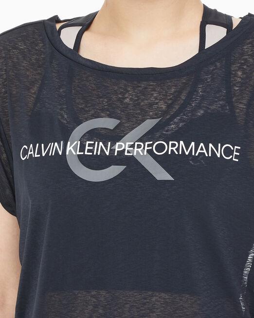 CALVIN KLEIN 여성 퍼포먼스 아이콘 크롭 렝스 스파이더 얀 반팔