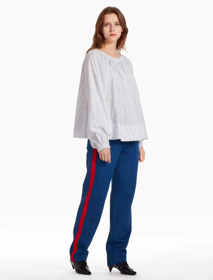 CALVIN KLEIN EMBROIDERED YARN DYED STRIPE TOP