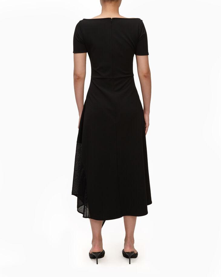 CALVIN KLEIN SCUBA CREPE DRESS WITH LACE
