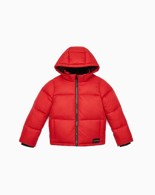 CALVIN KLEIN 여아용 에센셜 로고 퍼퍼 재킷
