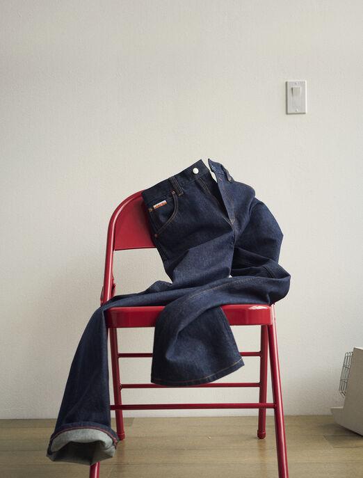 CALVIN KLEIN 여성 프로젝트 오렌지 하이라이즈 스트레이트 핏 인디고 데님(인디고)