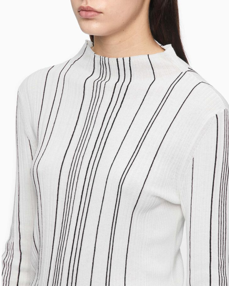 CALVIN KLEIN HIGH NECK RIBBED STRIP TOP