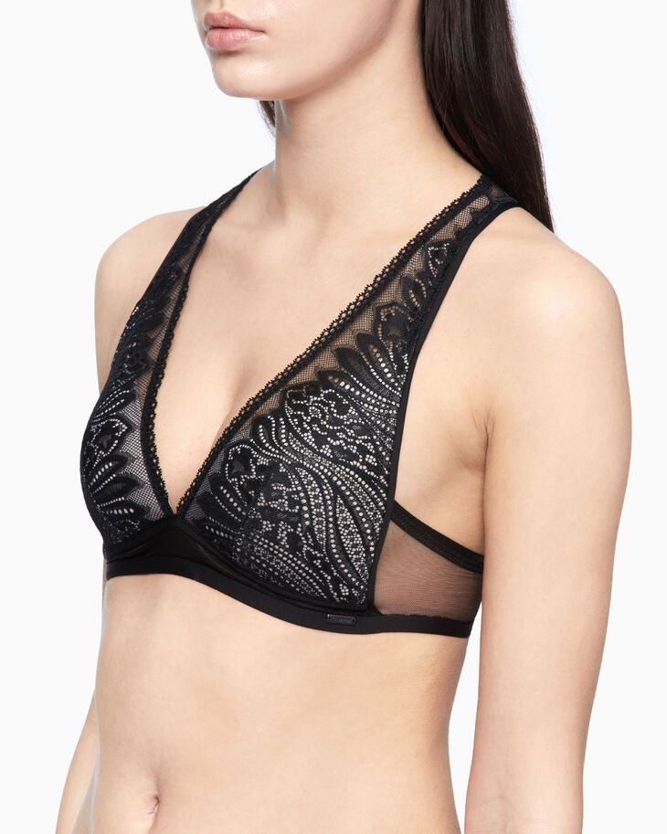 CALVIN KLEIN CK BLACK WAVE LACE LIGHTLY LINED BRALETTE