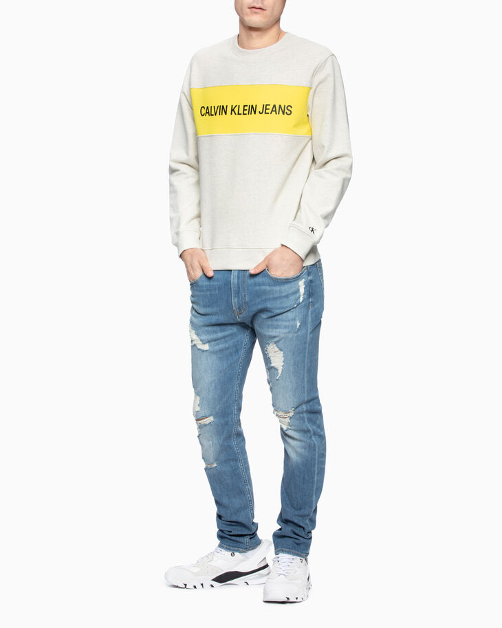CALVIN KLEIN INSTITUTIONAL LOGO PANEL SWEATSHIRT