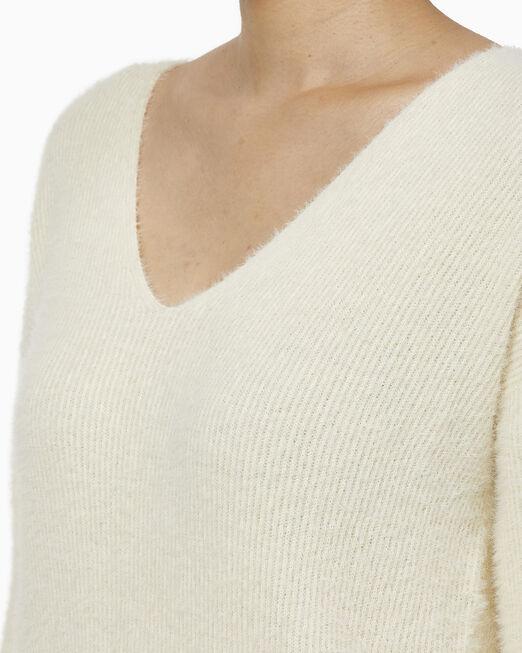 CALVIN KLEIN 여성 플러피 브이넥 스웨터