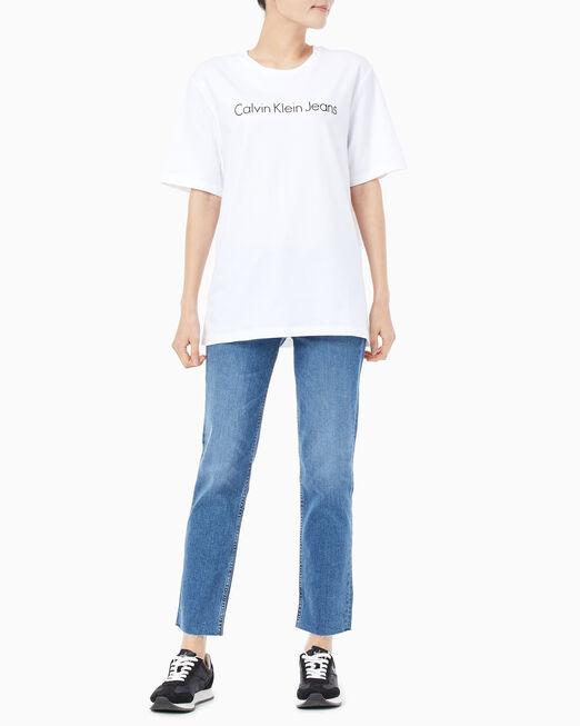 CALVIN KLEIN 여성 보이프렌드핏 인스티튜셔널 로고 반팔 티셔츠