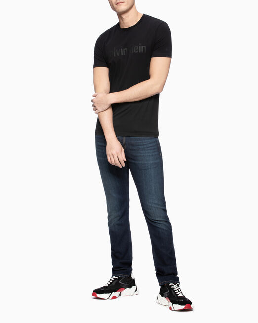 CALVIN KLEIN 남성 슬림핏 믹스 글리터 로우어 반팔 티셔츠