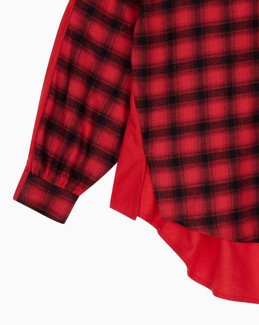 CALVIN KLEIN 여성 오버사이즈 플레이드 블로킹 셔츠