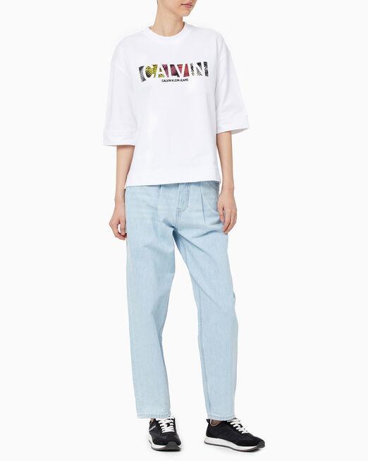 CALVIN KLEIN 여성 팜 릴렉스핏 크루넥 반팔 티셔츠