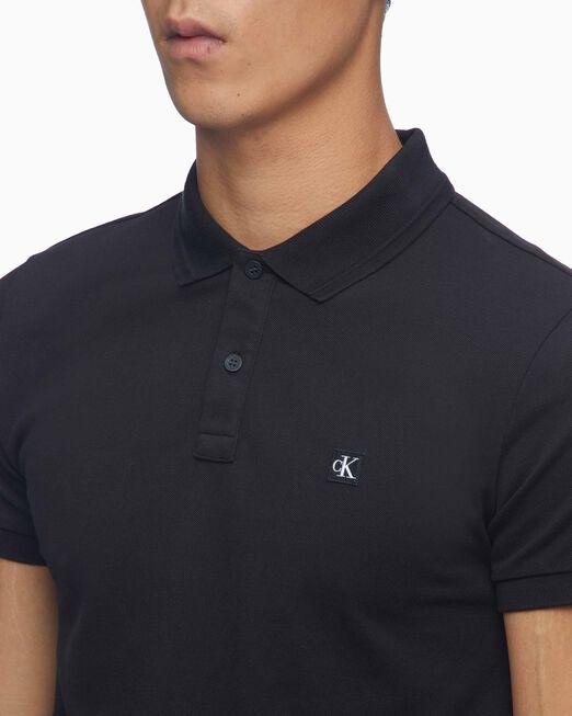 CALVIN KLEIN 남성 슬림핏 CK 뱃지 폴로 반팔 티셔츠