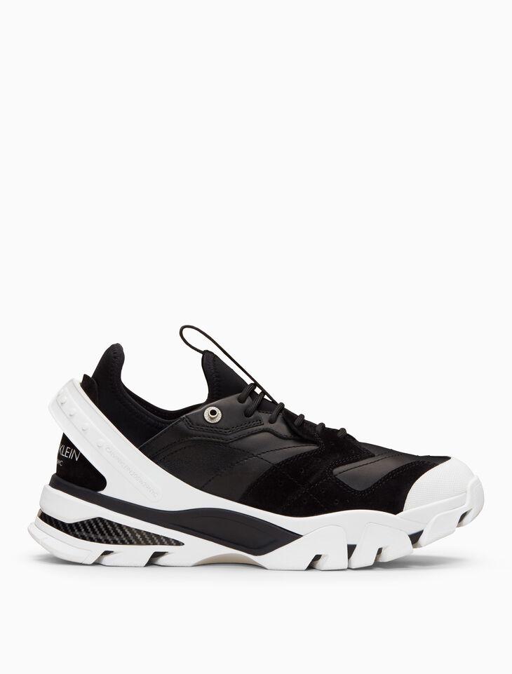 CALVIN KLEIN 軟皮 + 麂皮綁帶運動鞋