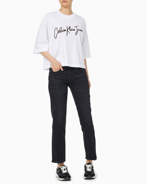 CALVIN KLEIN 여성 패션핏 스크립트 로고 티