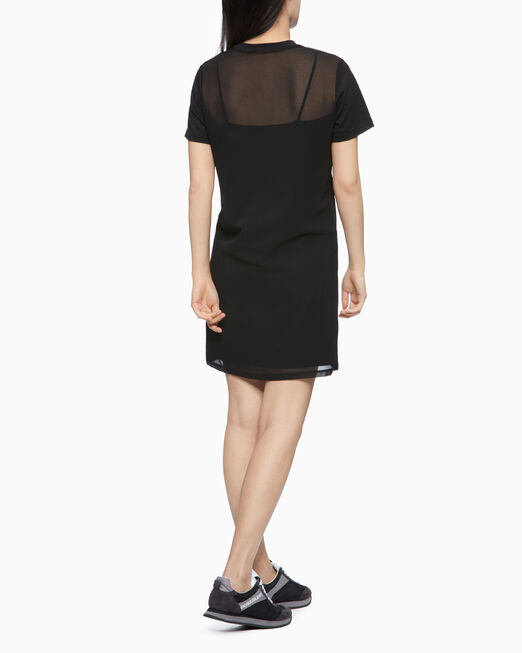 CALVIN KLEIN MIXED FABRIC LOGO DRESS