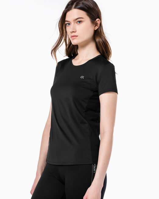 CALVIN KLEIN 여성 액티브 아이콘 메쉬 백 티셔츠