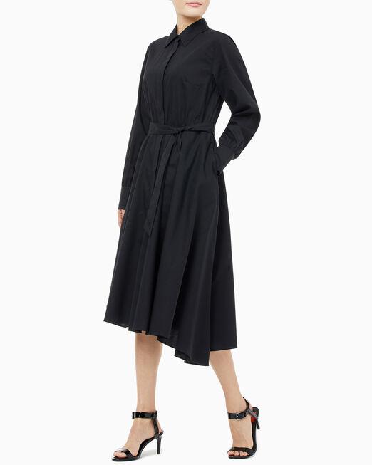 CALVIN KLEIN 여성 스트라이프 셔츠 원피스