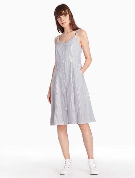 CALVIN KLEIN 스트라이프 다운 미디 드레스