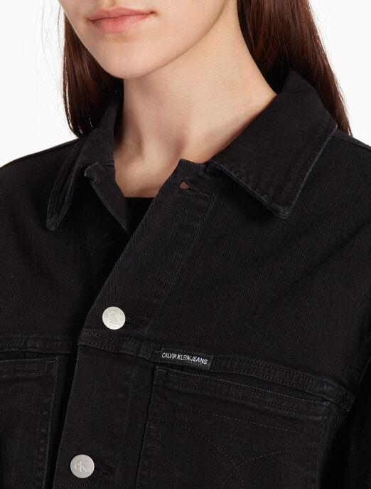 CALVIN KLEIN 클래식 블랙 트럭커 재킷