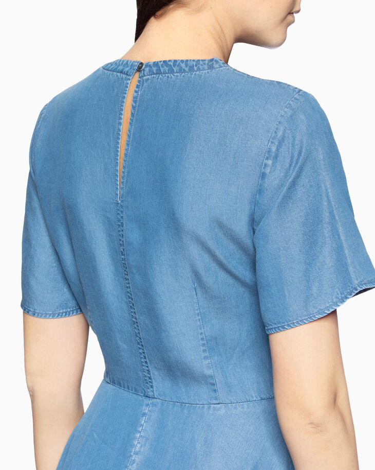 CALVIN KLEIN INDIGO SHORT SLEEVE FLARED DRESS