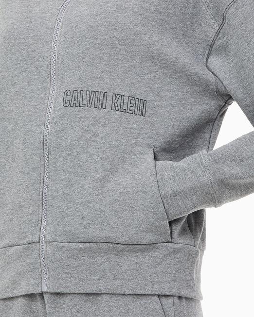 CALVIN KLEIN 여성 아웃라인 씨케이 로고 후디드 스웨트 자켓