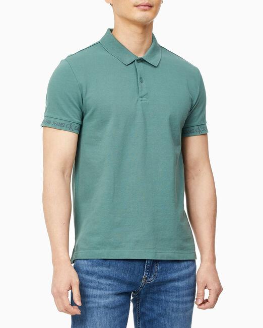 CALVIN KLEIN 남성 로고 자카드 폴로 반팔 티셔츠