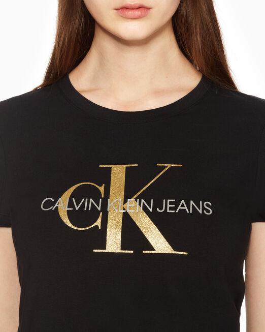 CALVIN KLEIN 여성 씨엔와이 모노그램 스트레이트핏 반팔 티셔츠