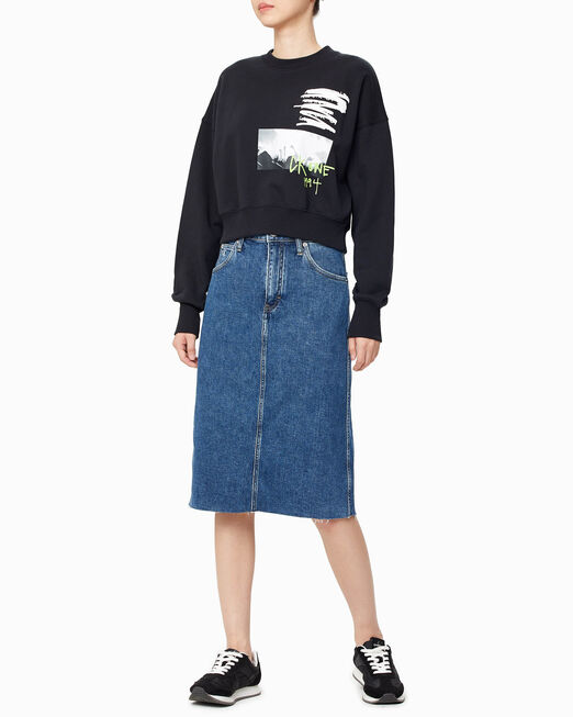 CALVIN KLEIN ARCHIVE ICON ECO HIGH RISE MIDI SKIRT