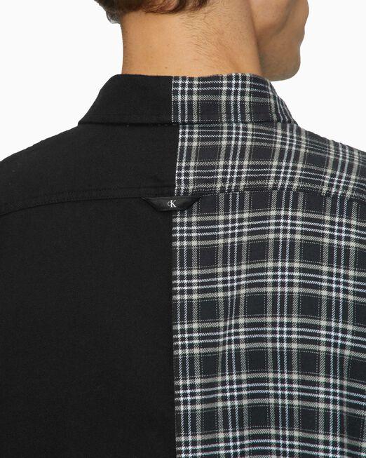 CALVIN KLEIN 남성 믹스드 체크 오버사이즈 셔츠
