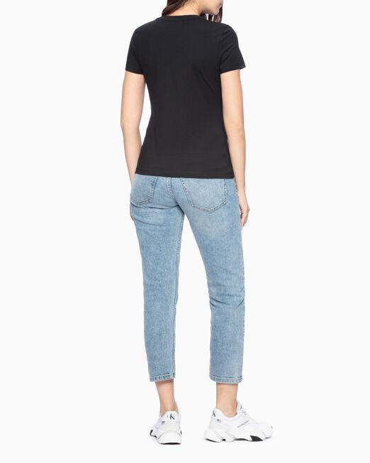 CALVIN KLEIN 여성 크리스탈 CK 슬림 티셔츠