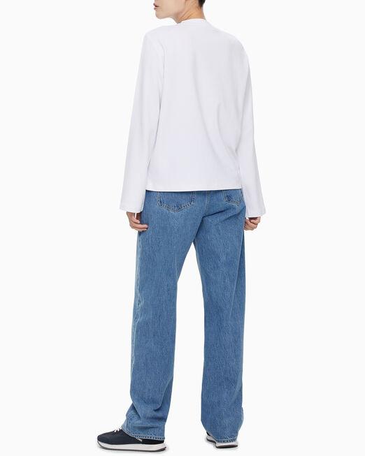 CALVIN KLEIN 여성 블랙 세퀸 니트 티셔츠
