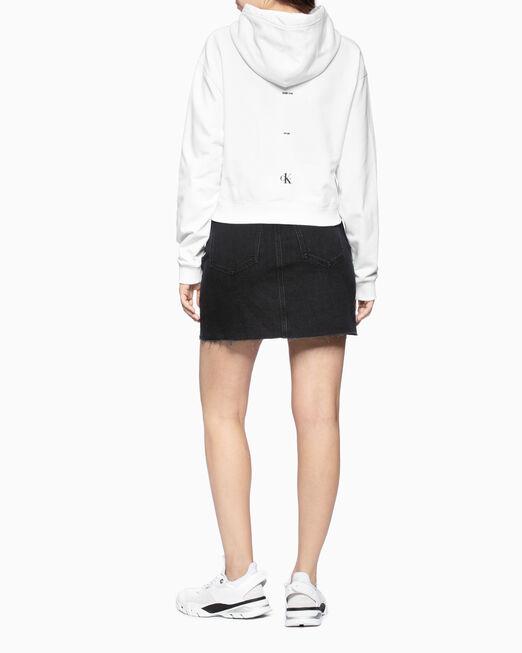 CALVIN KLEIN 여성 스몰 로고 크롭 보이프렌드핏 후디 스웨트 셔츠