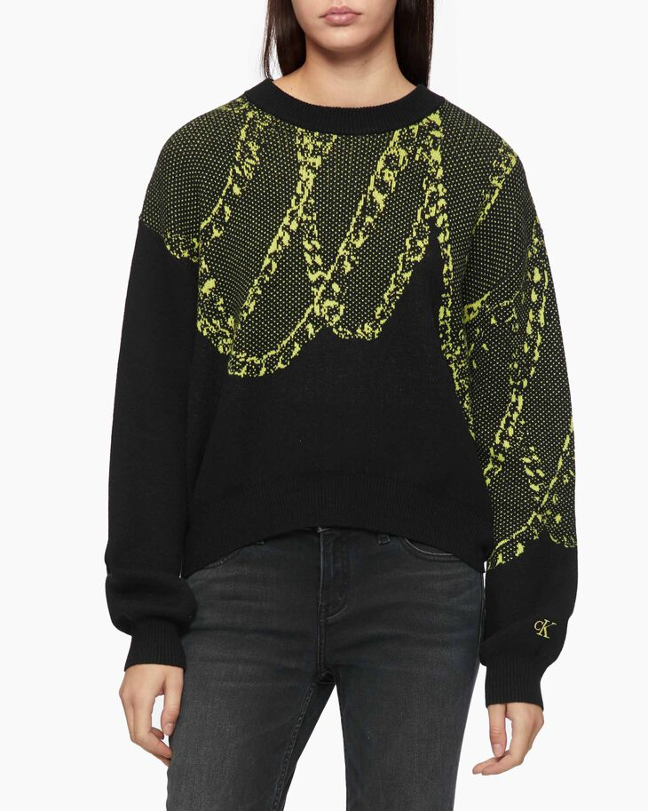 CALVIN KLEIN CHAIN KNIT PULLOVER SWEATER