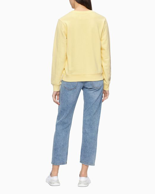 CALVIN KLEIN 여성 천연염색 모노그램 크루넥 스웨트 셔츠