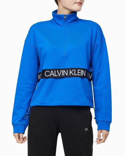 CALVIN KLEIN 여성 액티브 아이콘 엘라스틱 하프 지퍼 풀오버