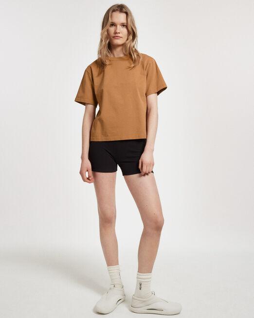 CALVIN KLEIN 여성 프로젝트 오렌지 오가닉 코튼 헤비웨이트 반팔 티셔츠(블랙)