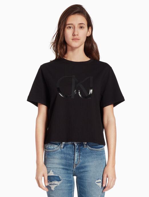 CALVIN KLEIN 로고 니트 반소매 티셔츠