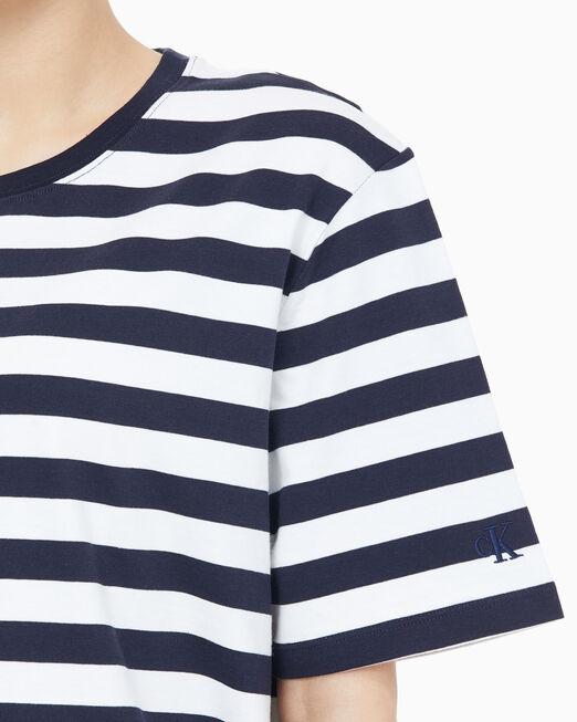 CALVIN KLEIN 여성 보이프렌드 핏 스트라이프 반팔 티셔츠