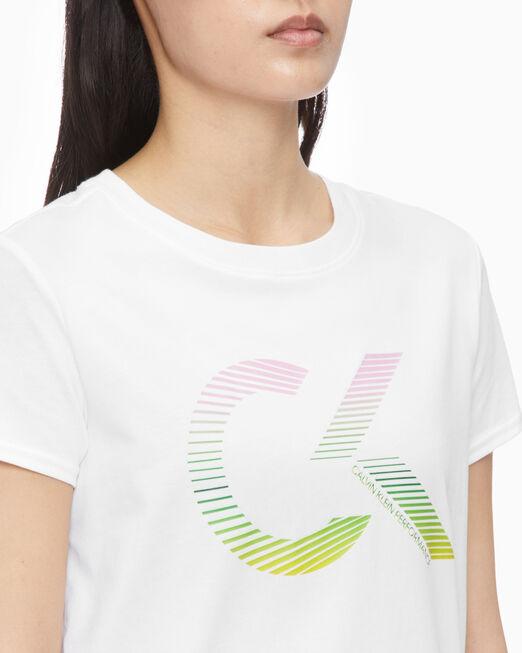 CALVIN KLEIN 여성 레인보우 모노그램 반팔
