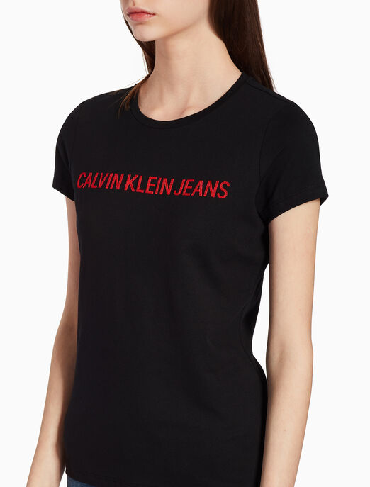 CALVIN KLEIN EMBROIDERED LOGO KNIT 티셔츠
