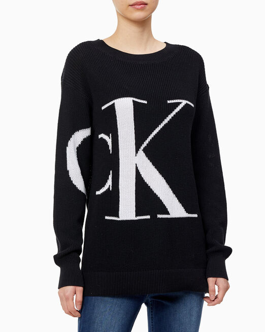 CALVIN KLEIN 여성 CK 오버사이즈 보트넥 스웨터