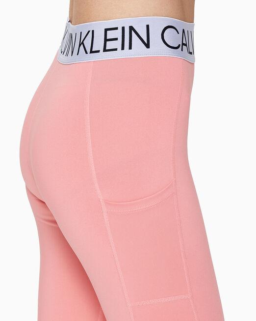 CALVIN KLEIN 여성 액티브 아이콘 실버 웨이스트밴드 7/8 메쉬 레깅스