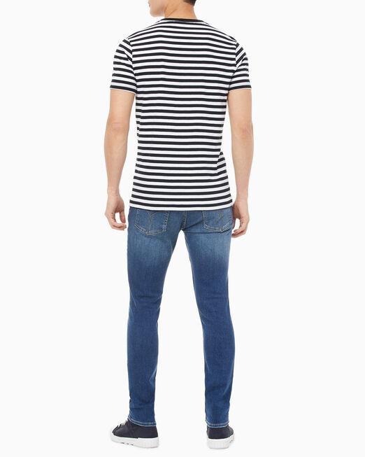 CALVIN KLEIN 남성 미니 스트라이프 슬림핏 반팔 티셔츠