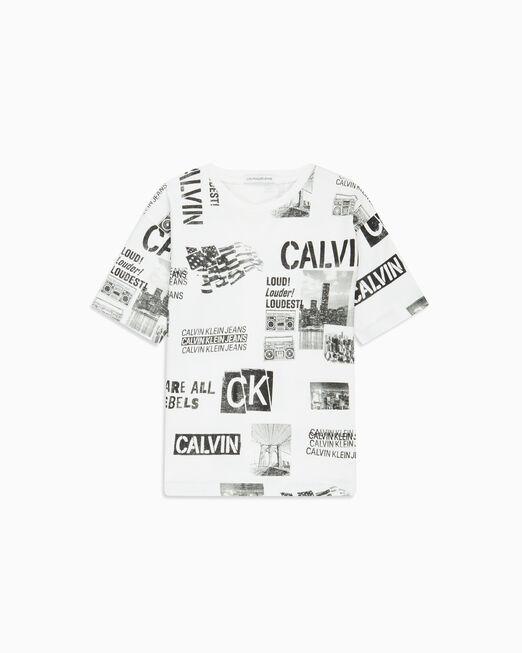 CALVIN KLEIN 남아용 올오버 펑크 프린트 티셔츠