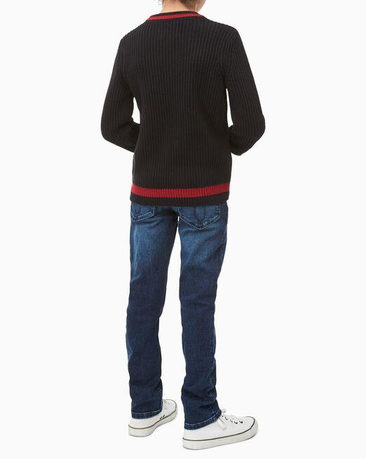CALVIN KLEIN 남아용 리브 니트 로고 스웨터