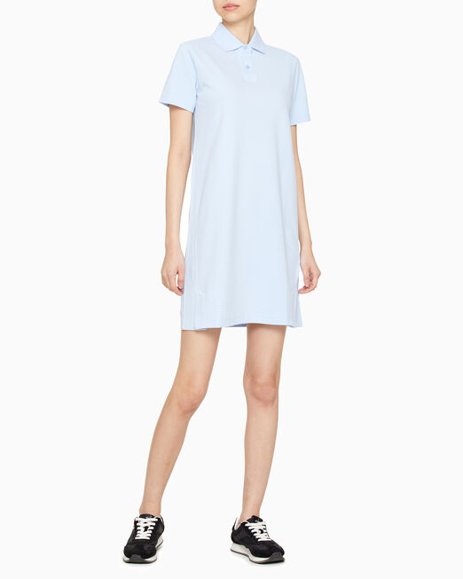 CALVIN KLEIN 여성 로고 카라 폴로 반팔 드레스