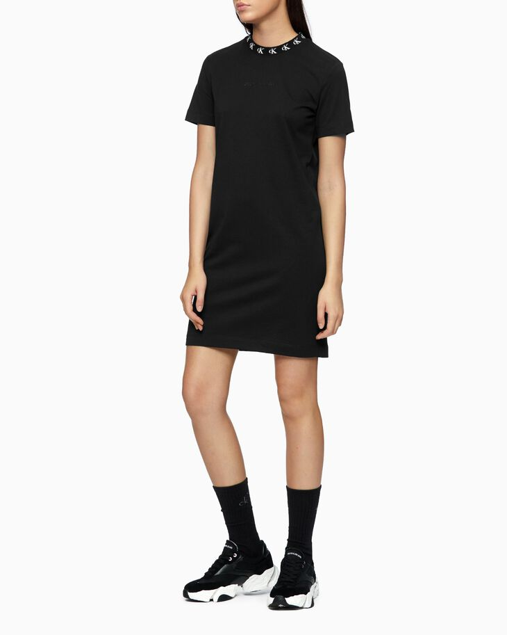 CALVIN KLEIN CK LOGO NECK T-SHIRT DRESS