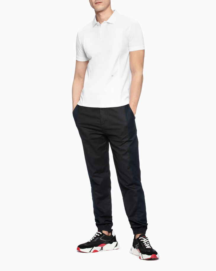 CALVIN KLEIN MIXED FABRIC POLO SHIRT