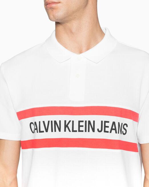 CALVIN KLEIN INSTITUTIONAL 스트라이프 로고 폴로 셔츠