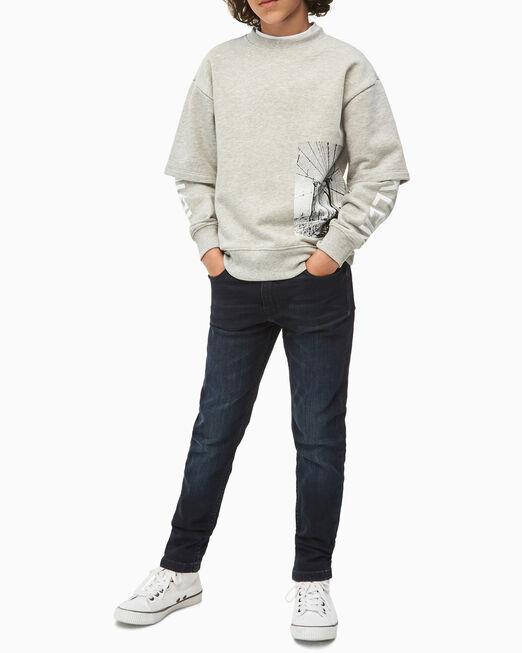 CALVIN KLEIN 남아용 더블 레이어 슬리브 스웨트셔츠