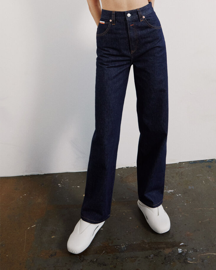 CALVIN KLEIN INDIGO RINSE DENIM 直筒高腰牛仔褲