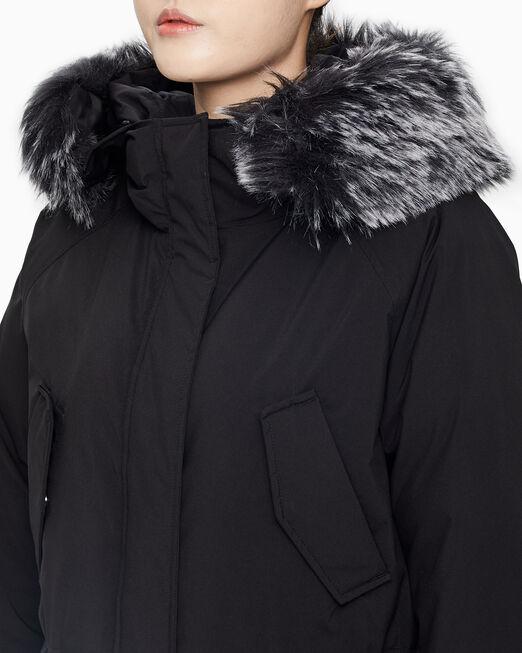 CALVIN KLEIN 여성 블랙 퍼 후드 다운 자켓